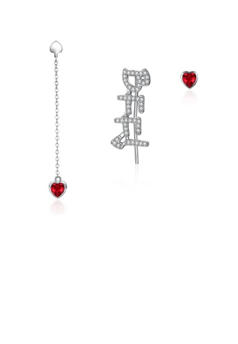 Glamorousky white 925 Sterling Silver Fashion Letter BFFI  and Red Heart-shaped Asymmetric Stud Earrings with Austrian Element Crystal A0162AC3982D23GS_1