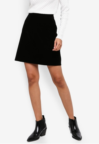 WAREHOUSE black Velvet Pelmet Skirt 3A9BDAA3B81A2DGS_1