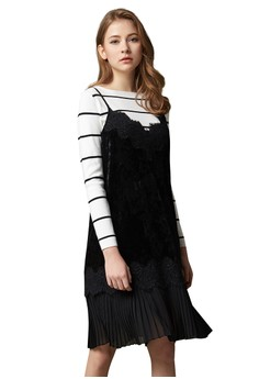 【ZALORA】 OUWEY歐薇 優雅剪接蕾絲細帶洋裝
