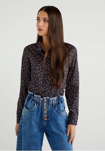 United Colors of Benetton blue Printed Shirt BC03CAAD2F04BBGS_1
