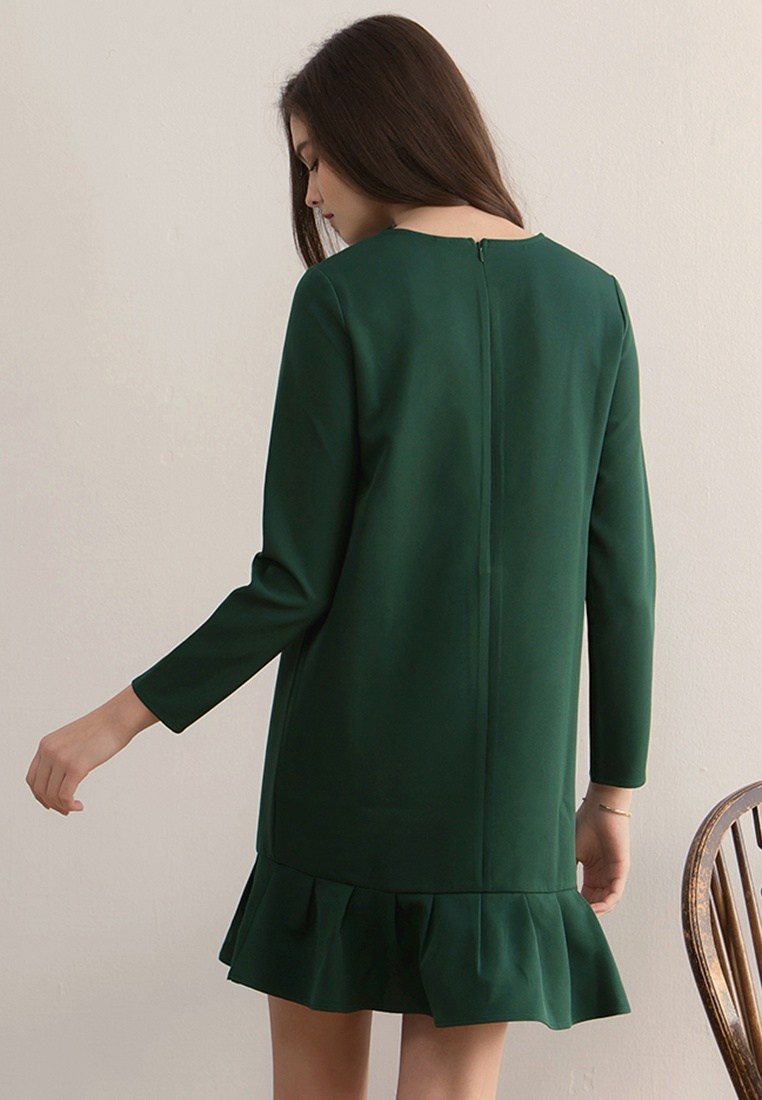 Dress Shift Dark Frill Green Hem Kodz fqIEx5Yw
