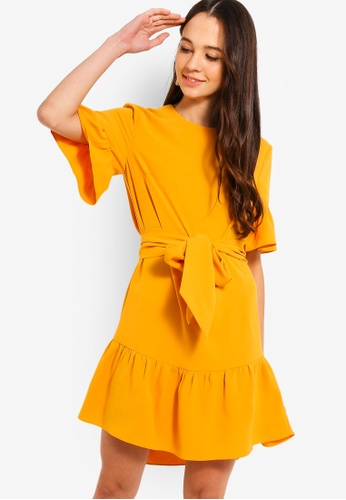 Something Borrowed yellow Waist Tie Ruffles Hem Relaxed Dress 5CA1AAA552090EGS_1