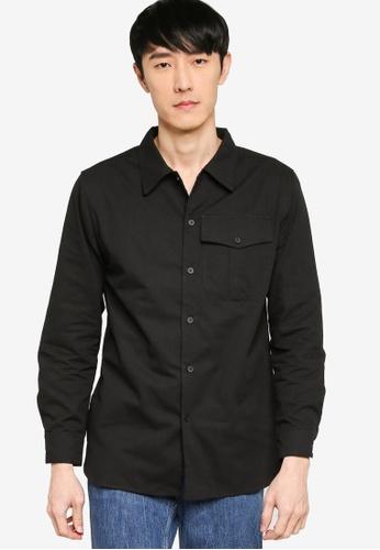 ZALORA BASICS black Regular Fit Single Pocket Utility Shirt 3DD49AA5219EBEGS_1