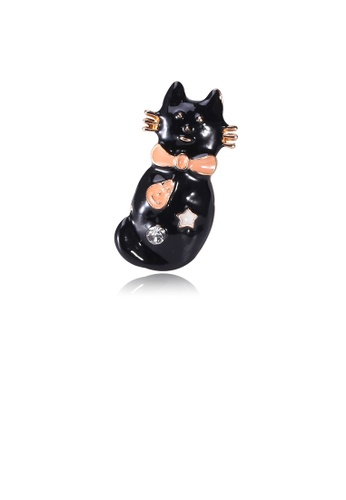 Glamorousky white Fashion Cute Cat Brooch with Cubic Zirconia E973BACD4D666DGS_1