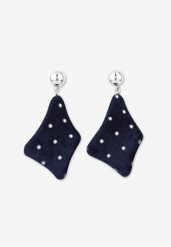 Pomelo blue Velvet Drop Earrings - Dark Navy 501BCACCE8C92BGS_1