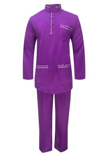 Pacolino purple Baju Melayu Cekak Musang with pants For Baby - BM37038 (Light Purple) 886F6KA83BF275GS_1