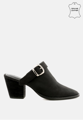 RAG & CO black Stacked Heel Mules with Adjustable  Buckle D71DFSHCD4A640GS_1
