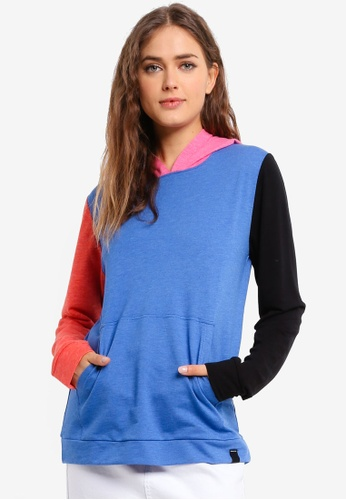 UniqTee blue Contrast Color Sweatshirt with Hoodie 2BE5FAA55DC0F5GS_1
