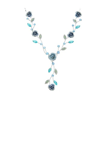 Glamorousky silver Blue Rose Necklace with Blue Austrian Crystals and Crystal Glass 4E2BBAC917369AGS_1