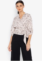Susto The Label beige Maeve Printed Wrap Blouse 50261AA984A0E3GS_1