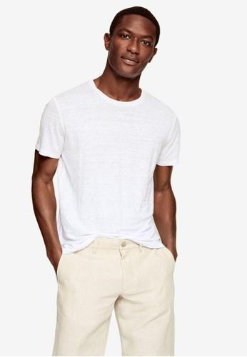 MANGO Man white Regular Fit Linen T-Shirt BD27FAAE237397GS_1