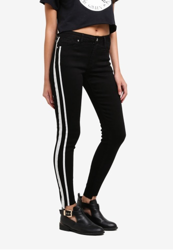 05c5b6d60f1d MISSGUIDED black Anarchy Painted Side Stripe Skinny Jeans 73F4CAAD07B381GS_1