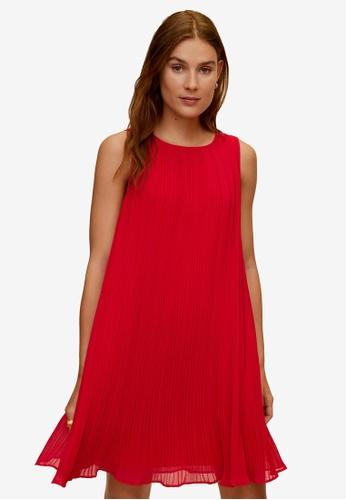 Mango red Pleated Short Dress 8DE7DAAD212FAFGS_1