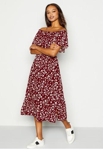 DEBENHAMS red Principles - Red Brick Leopard Print Bardot Midi Dress B25AFAA702A55FGS_1