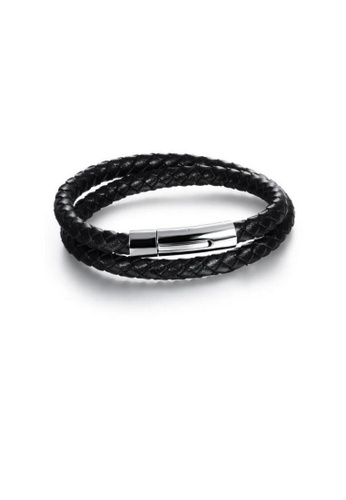ADORA silver Stainless Steel Leather Bracelet 5E871ACB6387A1GS_1