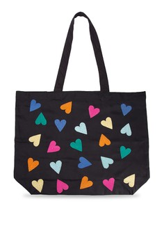 Hearts Embroidered Twill Tote Bag