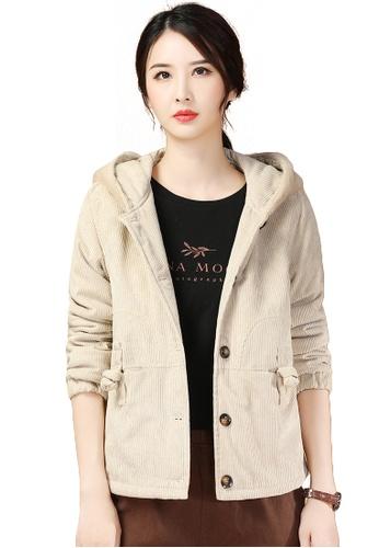 A-IN GIRLS beige Casual Corduroy Warm Hooded Jacket D0AB5AAD0B26ACGS_1