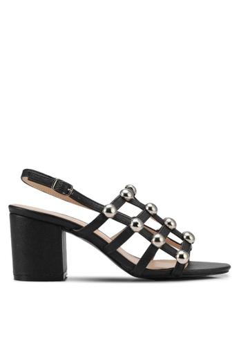 Public Desire black Weekend Chrome Studded Heeled Sandals PU378SH0SIQMMY_1