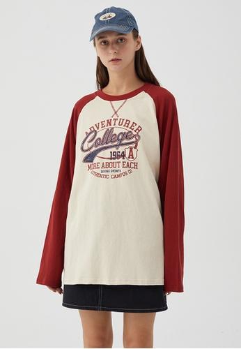 Twenty Eight Shoes Loose Contrast Panel Printed Long T-shirt HH0795 6057FAAF63799FGS_1
