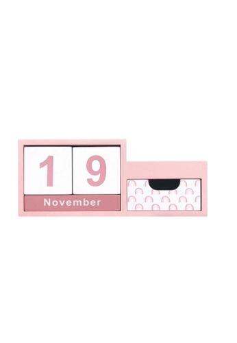 Klosh pink Wooden Perpetual Calendar with Holder - Boho Rainbow 6FAE3HL5F37694GS_1