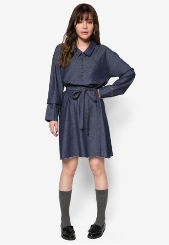 韓式風格丹寧襯衫式esprit暢貨中心洋裝, 服飾, 洋裝
