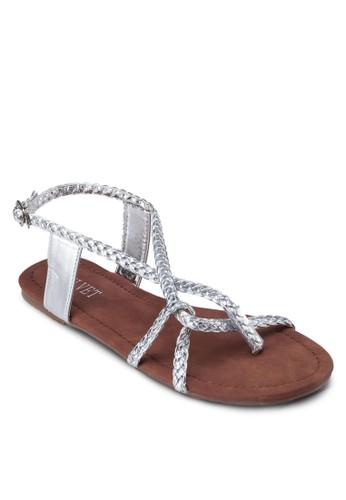 Beverzalora taiwan 時尚購物網鞋子ley 編織多帶平底涼鞋, 女鞋, 涼鞋