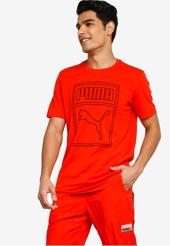 PUMA red Sportstyle Prime Graphic Box Logo Tee A2235AA19D6C35GS_1
