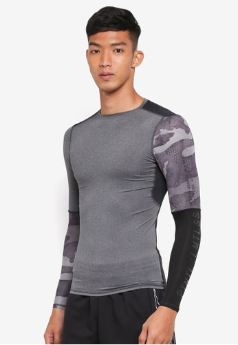 Reebok grey Activchill Graphic Long Sleeve Compression Tee RE691AA0SVZHMY_1