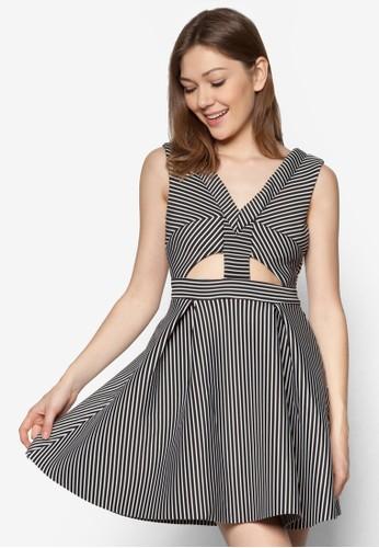 esprit 京站鏤空條紋連身裙, 服飾, 洋裝