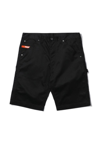 Fingercroxx black Emblem embroidered cargo shorts 45158AAA61AD68GS_1