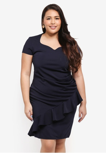 Goddiva navy Plus Size Diagonal Frill Midi Dress DD002AA041E56FGS_1