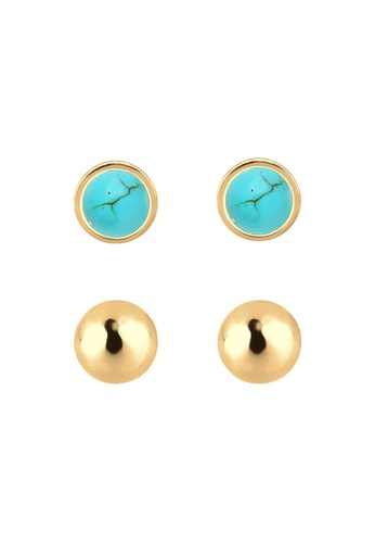 ELLI GERMANY gold Elli Germany Earrings Geo Basic Ball Howlite 925 Silver Gold Plated 21450ACD6A44D6GS_1