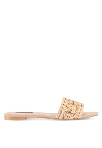ZALORA beige Raffia & Embroidered Detail Sliders 47A5ASH48002B4GS_1