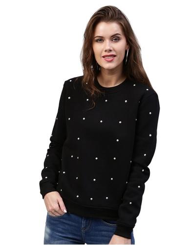 SASSAFRAS black Pearl Beaded Black Sweatshirt 329F3AAD3DE51AGS_1