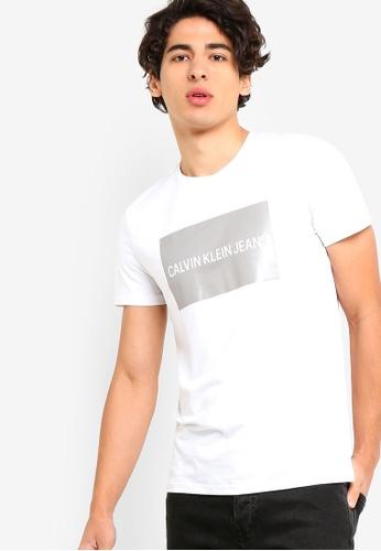 Calvin Klein 白色 短袖Fashion LOGO修身T恤 - Calvin Klein 牛仔褲 F0EA7AA334D137GS_1