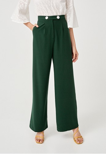 Love, Bonito green Orabelle Button Front Wide Leg Pants C0C23AA072E2C0GS_1