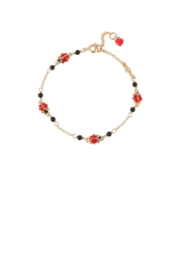 Glamorousky silver Fashion and Elegant Plated Gold Enamel Ladybug Bracelet 3CB88AC772B43AGS_1