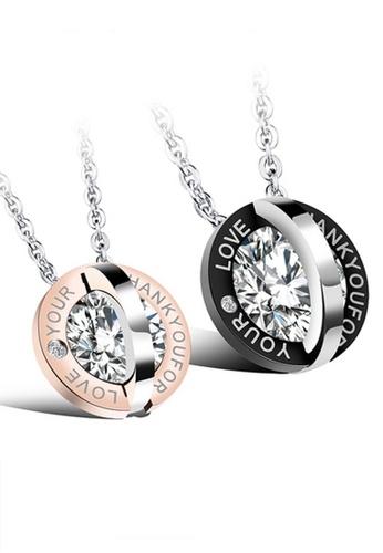 Trendyshop black and gold Couples Pendant Necklace Set TR116AC2VGFZHK_1