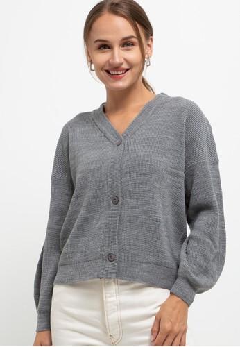 Button On grey Dolman Sleeve Relax Cardigan 1F53FAAB041A22GS_1