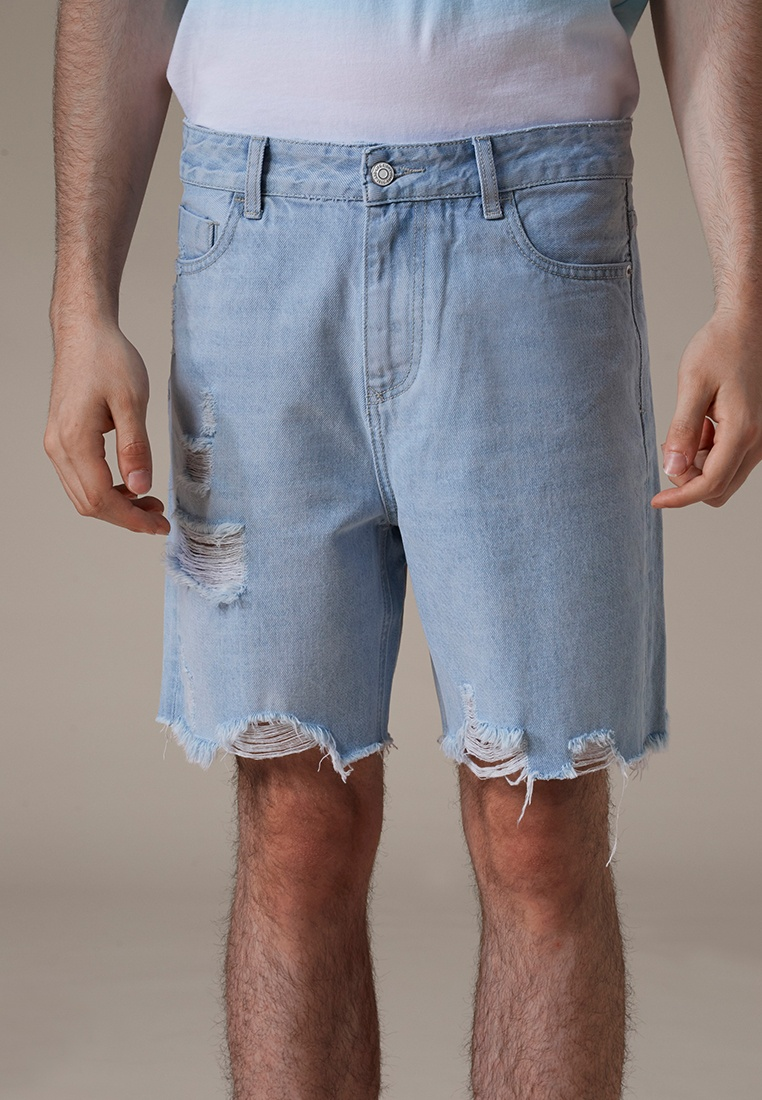 In Denim Wash 02420 Short Mid Jeans Light Blue Ripped Blue Life8 XqZxfxw