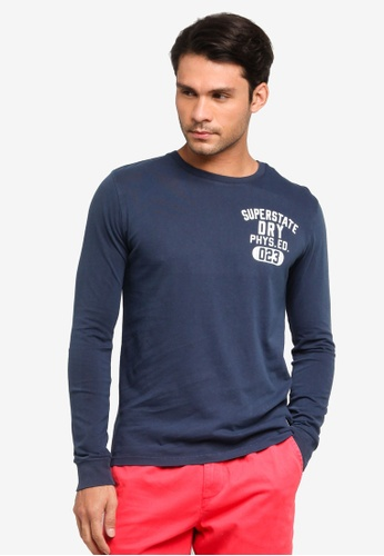 SUPERDRY navy Superstate Long Sleeve Tee BEB52AA19946F9GS_1