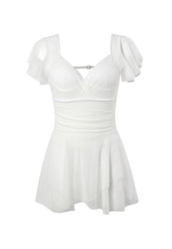 YG Fitness white Sexy Gauze Big Backless One-Piece Swimsuit A553BUS89B6366GS_1