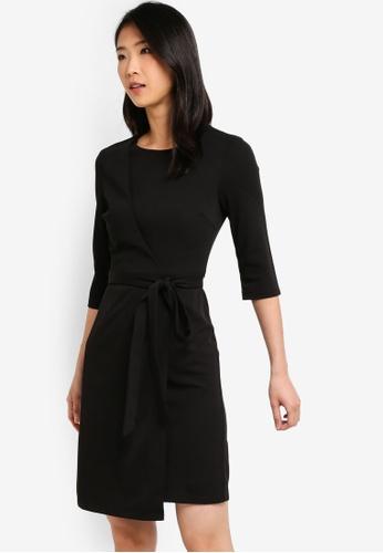 ZALORA BASICS black Basic Overlap 3/4 Sleeves Dress D5924AA7015D05GS_1
