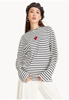 63daa84a06b Striped Heart Patch Long Sleeve Tee - White C9080AA7092116GS 1