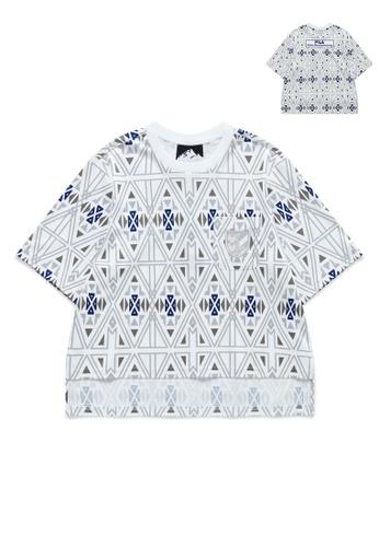 FILA white FILA x White Mountaineering All Over Ethnic Print Pocket Cotton T-shirt 77A58AABDA0427GS_1