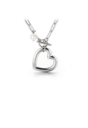 Glamorousky white Fashion and Simple Hollow Heart-shaped 316L Stainless Steel Pendant with Imitation Pearls and Necklace 40977ACFECA046GS_1