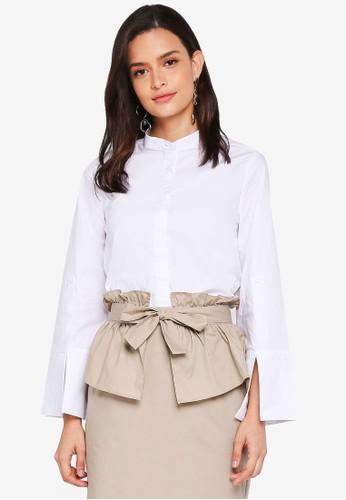 Lubna white Eplaulet Sleeve Oversized Shirt 99EA8AAD5A1CA9GS_1
