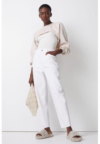 H&M white High Waist Twill trousers 39392AA81D3657GS_1