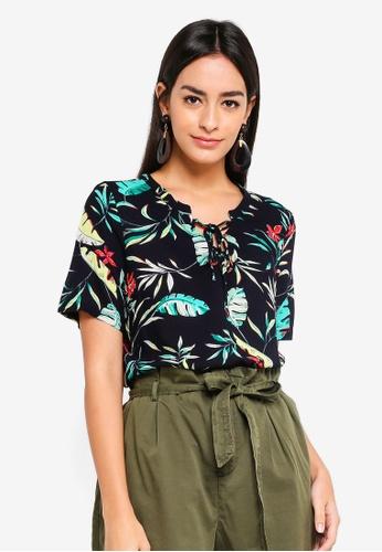 Vero Moda beige Frida Palm Top EE5B5AA4EC77CCGS_1