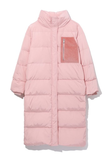 GREENISHPINK pink Pocket patch down coat. 92AB9AA3032327GS_1